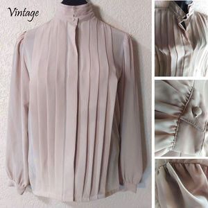 Vintage 70-80s sheer taupe long sleeve blouse NWOT